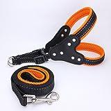 PanDaDa Haustier Hund Reflektierende Kragen Harness mit Zugseil Set Bling Strass Nylon Mesh Atmungsaktiv 6 Farben S/M / L