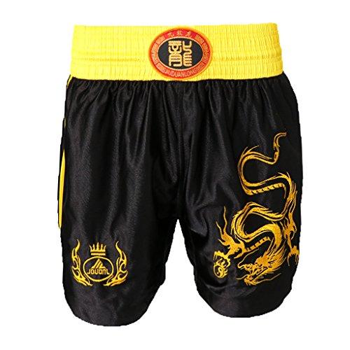 Gazechimp Unisex Erwachsene Muay Thai Boxen Kampf Shorts Kleidung MMA Box-Shorts - Schwarz, M (Kampf Shorts Schwarz)