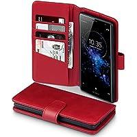 Sony Xperia XZ2 Hülle, Terrapin [ECHT LEDER] Brieftasche Case Hülle mit Standfunktion Kartenfächer und Bargeld für Sony Xperia XZ2 Tasche - Rot