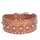 Lamzoom Halsbänder für Hunde Stift Pet Hundehalsband mit Spikes strapazierfähiges PU Leder Hund Katze Puppy Halsband Halskette mit Verstellbare Schnalle Basic Soft Echtem Leder Gurtband Hundehalsband