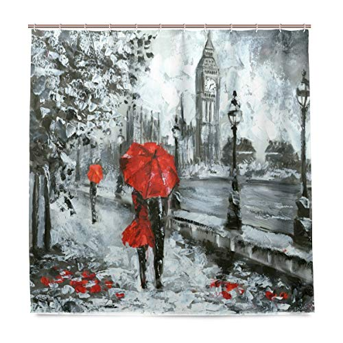 Öl-Gemälde Street View of London Badezimmer-Duschvorhang, Innendekoration, Schwarz/Weiß/Rot Big Ben Stoff, schimmelresistent, wasserfest, mit 12 Haken, 183,0 cm x 183,0 cm (Rot Weiß Schwarz Duschvorhang)