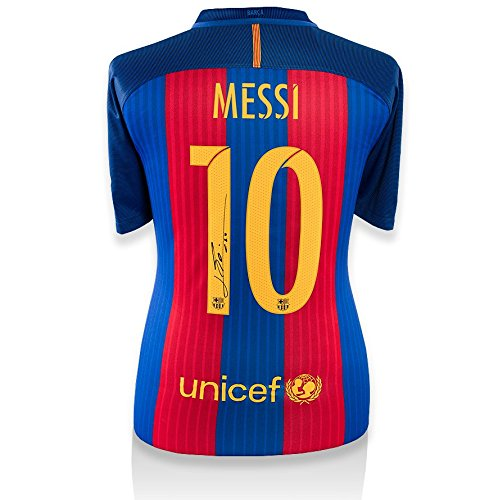 Icons-Shop-Unisex-ICLMBS66-Lionel-Messi-Official-Back-Signed-Barcelona-2016-17-Home-Shirt-Multi-Colour