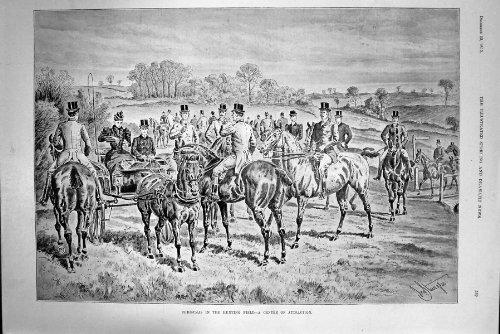 Stampa 1893 dell'oggetto d'antiquariato dei cavalli dell'attrazione del centro del campo di caccia di natale