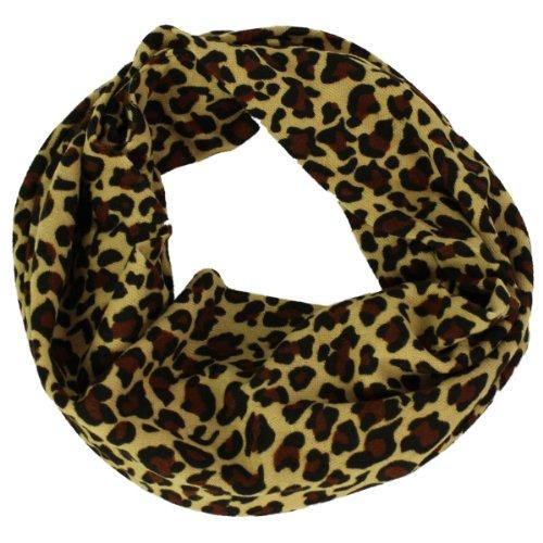 Weicher Loopschal / Rundschal mit Leoparden Muster braun beige