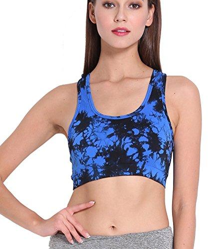 Femme Imprimé sans fil stretch Soutien-gorge de sport Gym Yoga bretelles dos Croisée Bleu - Bleu