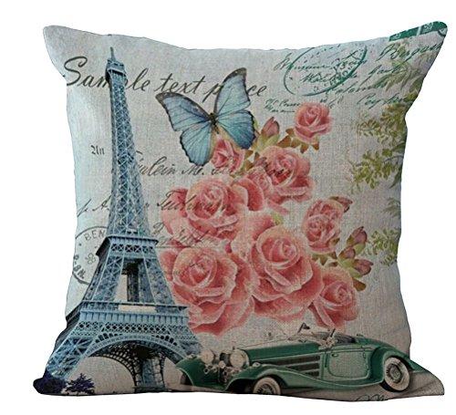 Chezmax federa copricuscino in cotone misto lino torre Eiffel modello cuscino 45,7x 45,7cm - Eiffel Lino