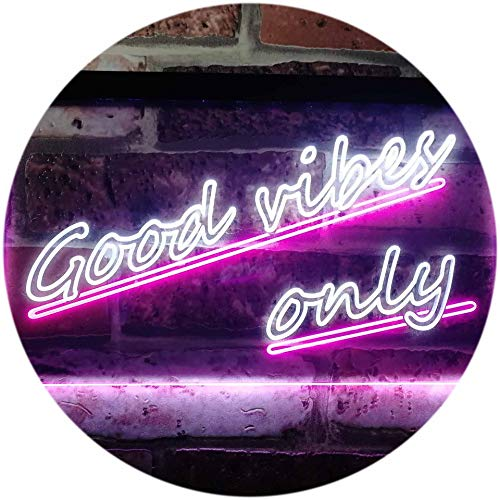 ADVPRO Good Vibes Only Wall Plaque Night Light Dual Color LED Barlicht Neonlicht Lichtwerbung Neon Sign White & Purple 16