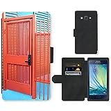 PU Leder Wallet Case Folio Schutzhülle // F00002549 schwarz BTP cc Ausrüstung Taschenlampe // Samsung Galaxy A3 SM-A300 (not fit S3)