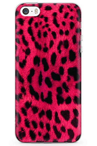 Case Warehouse iPhone 5 / 5s / SE Wildes Rosa-Leopard Schutz Gummi Handyhülle TPU Bumper Tierdruck Katze Löwe Pelz Mode (5 Leopard-fall Iphone)