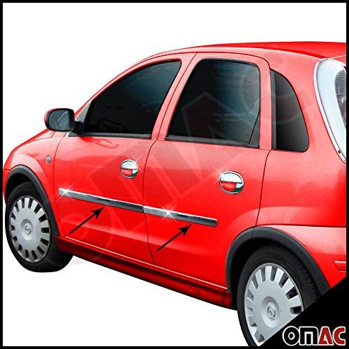 Opel Corsa C Seitenleisten Türleisten Zierleiste Blenden 4tlg Edelstahl Chrom
