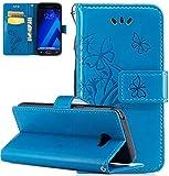 Samsung Galaxy A3 Hülle,Nnopbeclik Premium PU Leder Wallet Case mit [Kickstand] Kartenhalter und ID Slot Schutzhülle Bumper Schale Silicone für Samsung Galaxy A3 2017 4.7 Zoll