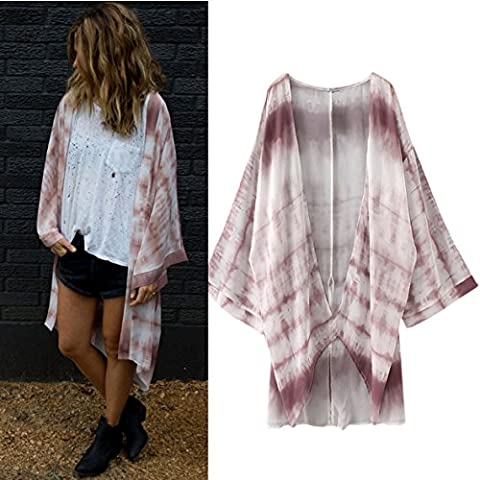 OverDose Women Floral Chiffon Loose Shawl Kimono Cardigan Tops Cover Up Blouse