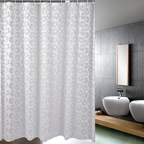 Fleur Rideau de douche en tissu résistant aux moisissures étanche Standard Rideau de douche pour salle de bain, Blanc, Polyester, blanc, 60*80