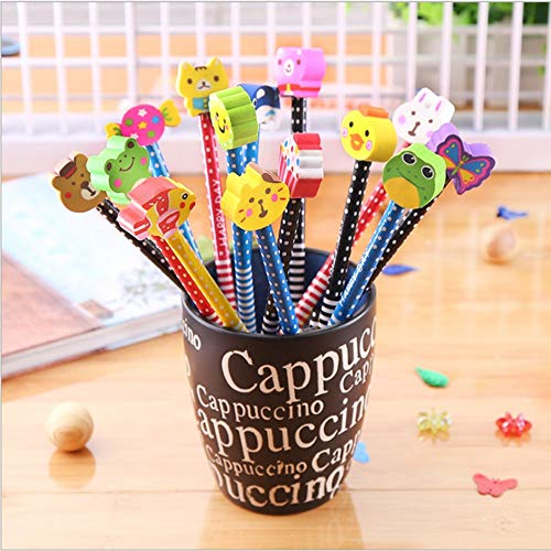 Matite durezza, aukcherie 20 pezzi set di matite matite per cartoni animati bambini in legno con gomme forniture scolastiche regalo per bambini, per festa di compleanno kids festival party