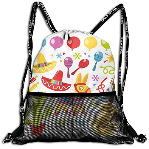 RAINNY Drawstring Backpacks Bags,Mexican Party Pattern Cactus Sombrero Musical Items and A Pinata Ethnic Inspirations,5 Liter Capacity,Adjustable