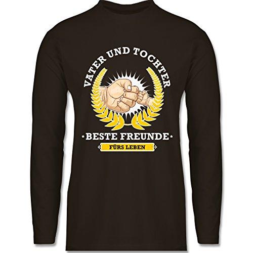 Vatertag - Vater und Tochter - beste Freunde fürs Leben - Longsleeve / langärmeliges T-Shirt für Herren Braun