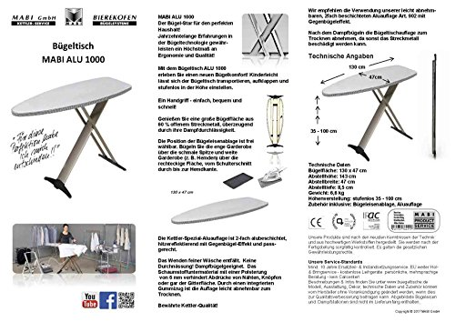 Mabi 2144 Bügeltisch Alu Design 1000 – Streckmetall-Bügeltisch – Hochwertiges Alugestell – Leicht – Portabel – Groß – Standfest – Kettler Spezial-Alu-Bügelbezug – Frei Positionierbare Bügeleisenablage - 3