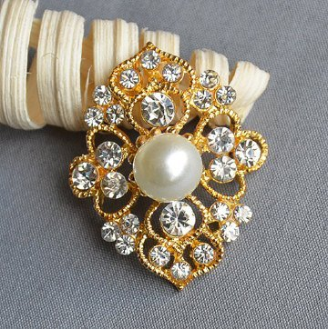 5 Rhinestone Button Brooch Gold Embellishment Pearl Crystal Wedding Brooch Bouquet Cake Invitation Decoration BT532 by Your Perfect Gifts
