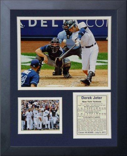 Leyendas nunca mueren Derek Jeter 3000th Hit foto enmarcada Collage, 11x 14