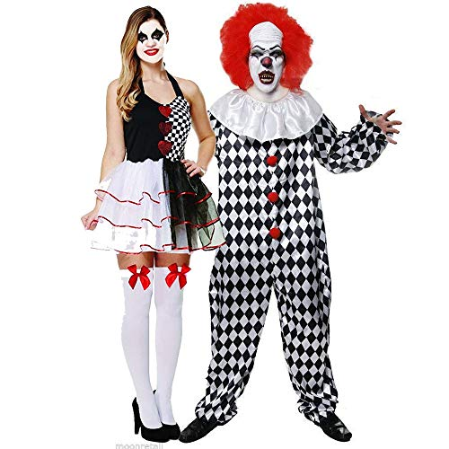 Deluxe Jester Evil with Scary Evil Clown Costume Halloween Fancy Dress Outfit Adult Mens Womens Couple Costume by - Womens Böse Clown Kostüm