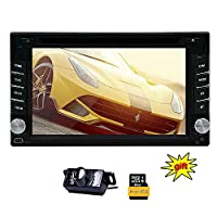 EinCar 6.2 inch Double din Car Dvd Gps Navigation Stereo Player support Subwoofer/USB/SD/DVD/Bluetooth/Steering Wheel control for free Back up camera/gps antenna/map card include map
