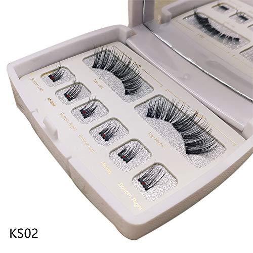 Edwiin 8 Stück 3D falsche Wimpern Anfänger mit Gratis Wimpern Applikator Set(Rosa) Dual Magnetische WimpernWiederverwendbare Künstliche Falsche Wimpern Weiß Schachtel -