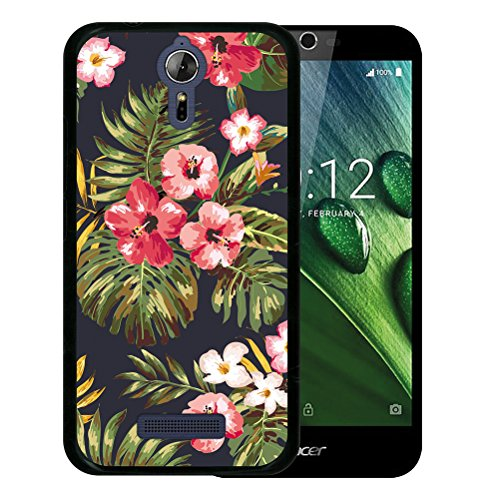 WoowCase Acer Liquid Zest Plus Hülle, Handyhülle Silikon für [ Acer Liquid Zest Plus ] Tropische Blumen 1 Handytasche Handy Cover Case Schutzhülle Flexible TPU - Schwarz