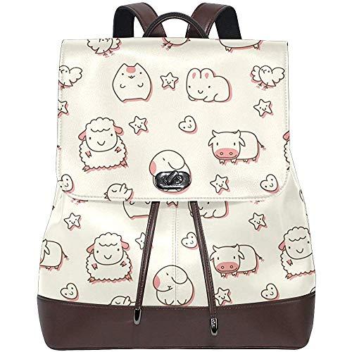 Nettes rosa Schwein-Schaf-Kuh-Kaninchen und Vogel-Foto PU-Leder-Rucksack-Schulter-Beutel-Schule-Hochschulbuch-Beutel-Rucksack-beiläufige Daypacks für Frauen und Mädchen