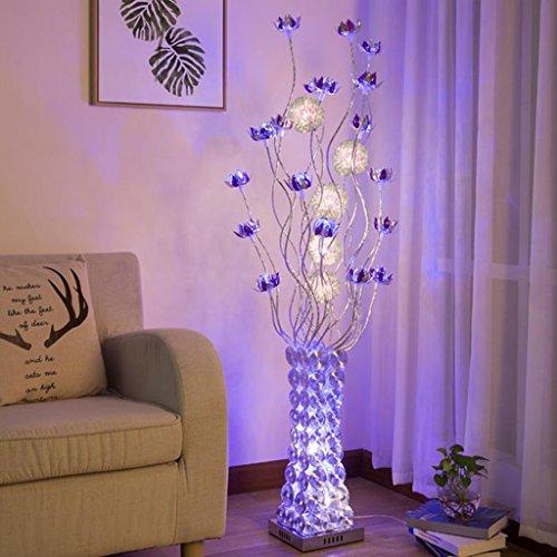 LIURONG LED-Stehlampe, Ländliche Persönlichkeit Vase Einfache moderne Wohnzimmer Schlafzimmer Boden Licht (ausgabe : Foot switch) (Stanze Blütenblätter)