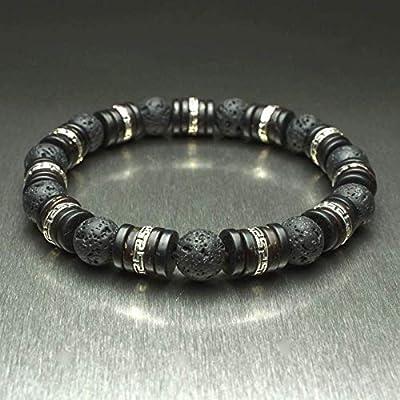 Bracelet homme Taille 22cm perles Ø 8mm pierre gemme Lave Volcanique Bois Cocotier/Coco Hématite perles métal couleur Argent vieilli Aspect Antique BRALAV18