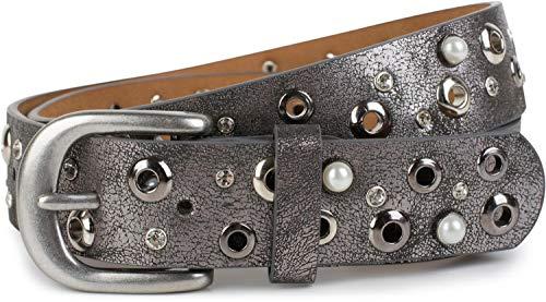 styleBREAKER Damen Gürtel mit Perlen, Strass und Nieten, Vintage Nietengürtel, kürzbar 03010090, Größe:100cm, Farbe:Antik-Grau