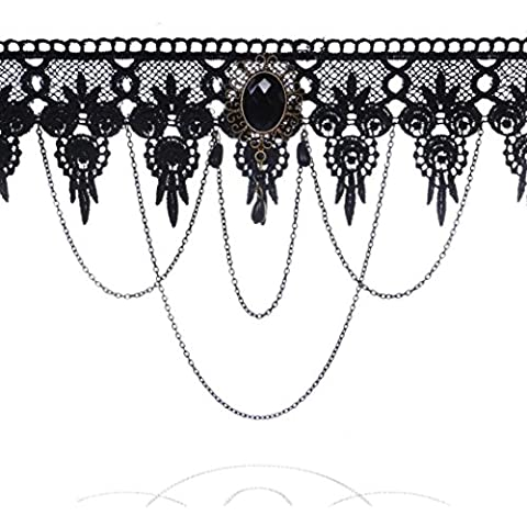 Landfox Collar de cadena pendiente de la borla del cordón de las mujeres Negro
