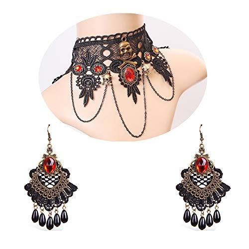Kostüm Frauen Gewinnen - MLSJM Gothic Choker Ohrringe Set, Retro Schwarzer Spitze Schädel Kristall Halskette & Perle Anhänger Ohrring Für Frauen, Mädchen, Halloween Kostüm Party (2 Stücke)