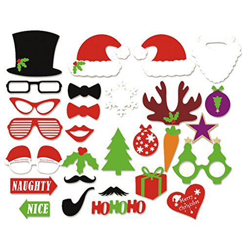 28pcs/set Photo Booth Props Kits Mustache Christmas Hat Reindeer Antlers Lip Gift Stick Diy Funny&creative Dress-up Accessories Christmas Party Reunions Birthdays …