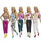 ZITA ELEMENT Lot10= 5 Set Casual Costume de Vêtements Blouse Chemise Tenues + 5 Pantalons Pour Poupées Barbie Cadeau d'Anniversaire (Au hasard)