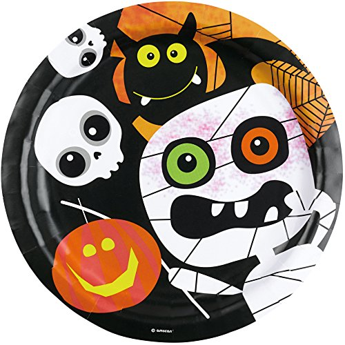 8-teiliges Teller-Set * HALLOWEEN KIDS * für gruselige Mottopartys // Kinder Geburtstag Party Pappteller Partyteller Plates Oktober Spinne Kürbis Skelett (Party Skelett Halloween)