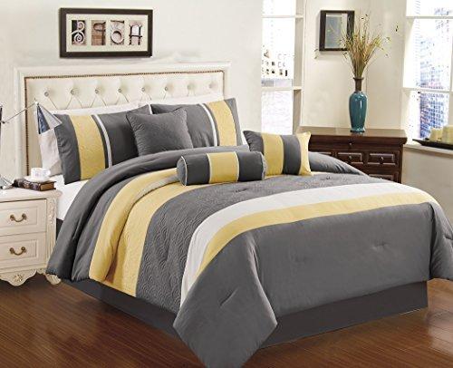 Chezmoi Collection 7-teilig sunvale gelb grau weiß Tröster Betten Set (König) (Set König Und Grau Weiß Tröster)