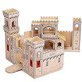 TikTakToo Ritterburg aus Holz Festung Ritterschloss Holzspielzeug klappbar mit Zugbrücke 55x37x38 cm