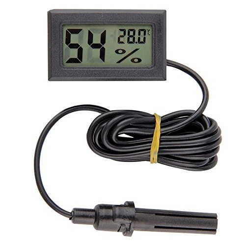 diymore LCD Digital Mini Embedded Thermometer Hygrometer Temperature Humidity Gauge Meter Probe for Reptile Incubator Aquarium Poultry (Black with Cable)