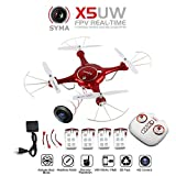 Yacool ® X5UW FPV Drone 2.4G RC Headless Quadcopter Wifi Real-time Transmission WIFI UFO Helicopter with the One Key Take-off/Landing & Flight Plan Route Control Function,included extra 1pcs 4 in to charger and 4pcs 3.7v 500mAh batteries for your replacem