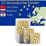 travSIM Prepaid Daten SIM Karte für Europa + Türkei (27 Länder) + 1.5GB für 30 Tage - Standard,Micro & Nano SIM