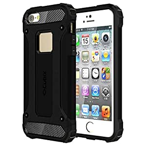 Cubix Defender-II Dual Layer Shockproof Stand Bumper Back Case Cover for Apple iPhone 5s (Black)