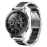 sundaree Galaxy Watch 46MM Bracelet,22MM Bracelet Montre Remplacement Bande Poignet Acier Inoxydable Métal Bracelet pour Samsung Galaxy Watch 46MM SM-R800/Gear S3 Classic/S3 Frontier(Argent+Noir)