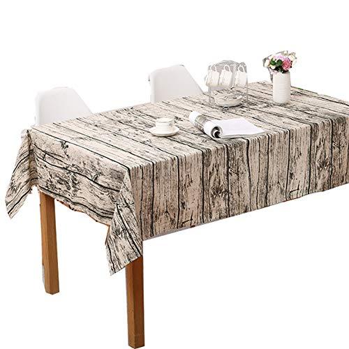 XDLUK Tischdecke Baumwolle Leinen Rechteckiges Vintage Tischtuch Fleckenschutz Abwaschbare Tischwäsche mit Holz Muster,120x160cm