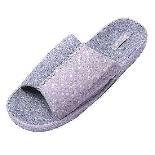 WILLIAM&KATE Maison Unisex Adult piatto Pantofole Skidproof Pantofole Pantofole per la famiglia Rosa+Grigio