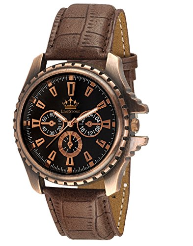 LimeStone-Round-Casual-Octane-Originals-Analog-Brown-Strap-Black-Dial-Mens-Boys-Wrist-Watch-LS2623