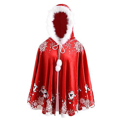 AMUSTER Familie Weihnachten Kostüm Erwachsene Kinder Weihnachtsmantel Weihnachten Kostüm Cosplay Kostüm Cloak Weihnachten Cape Santa Mantel mit Kapuze