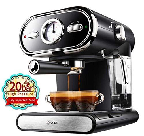 QHY Italienische Kaffeemaschine Halbautomatische Kaffeemaschine 20Bar Pump Espressomaschine 220V Espresso,Schwarz,A - Schwarze Halbautomatische Espressomaschine