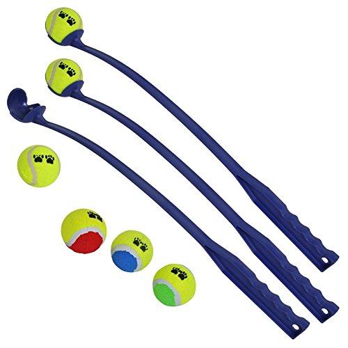 Lot de 3 Lance-balles + Lot de 6 balles de tennis, Lanceur de balles pour chiens, Jette balles