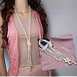 Distinct® Moda blanco Artificial perlas largo cadena encantos suéter collar accesorios de la joyería